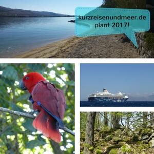 Das Bild zeigt verschiedene Fotos meiner letzten Reisen z.B. einen Papagei, Mein Schiff, einen Strand und einen Blick in den Harzer Wald