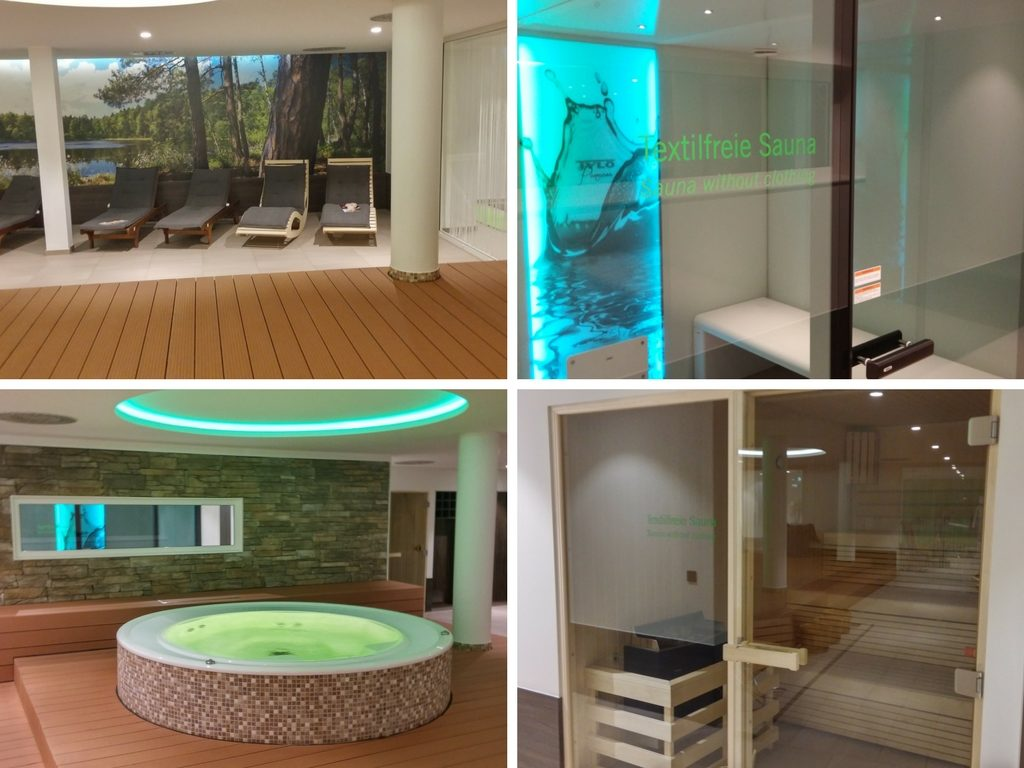 Das Bild zeigt verschiedene Perspektiven auf den Wellnessbreich des Hotels Wenigerode im Harz.