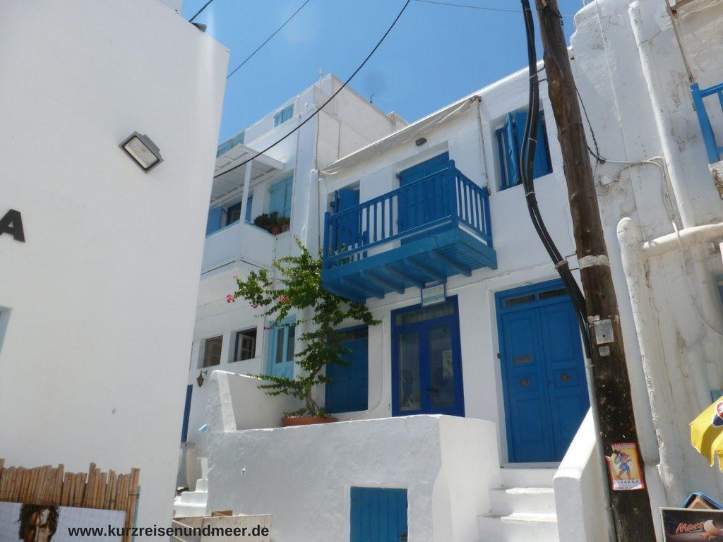 Das Bild zeigt ein Haus auf Mykonos