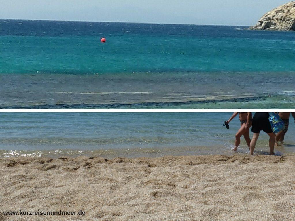 Das Bild zeigt Perspektiven vom Paradise Beach auf Mykonos.