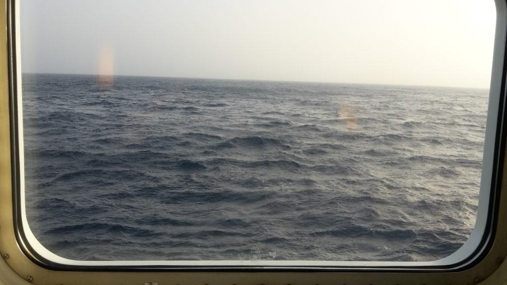 Blick am Morgen aus dem Fenster unserer Kabine 4154 auf der AIDAsol