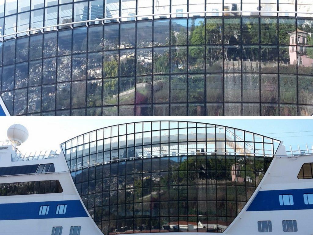Der Theatrium-Bereich der AIDAsol von außen mit einer tollen Spiegelung.