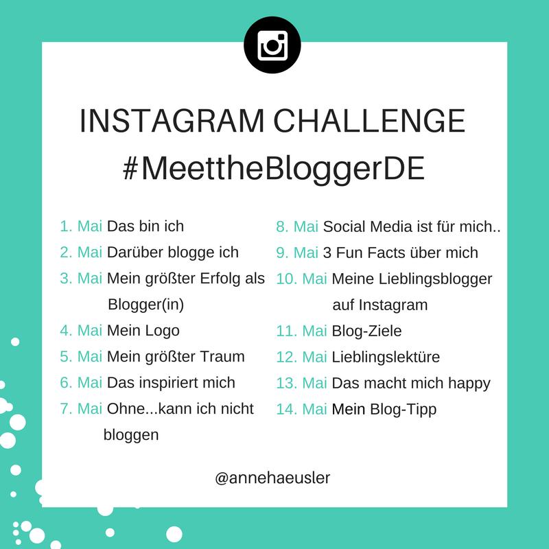 Das Bild zeigt die Fragen der ersten 14 Tage der Instagram Challenge #MeettheBloggerDE von Anne Häusler