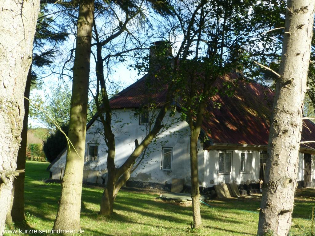 Ein altes Haus in Polchow mit weit hinuntergezogenem Dach