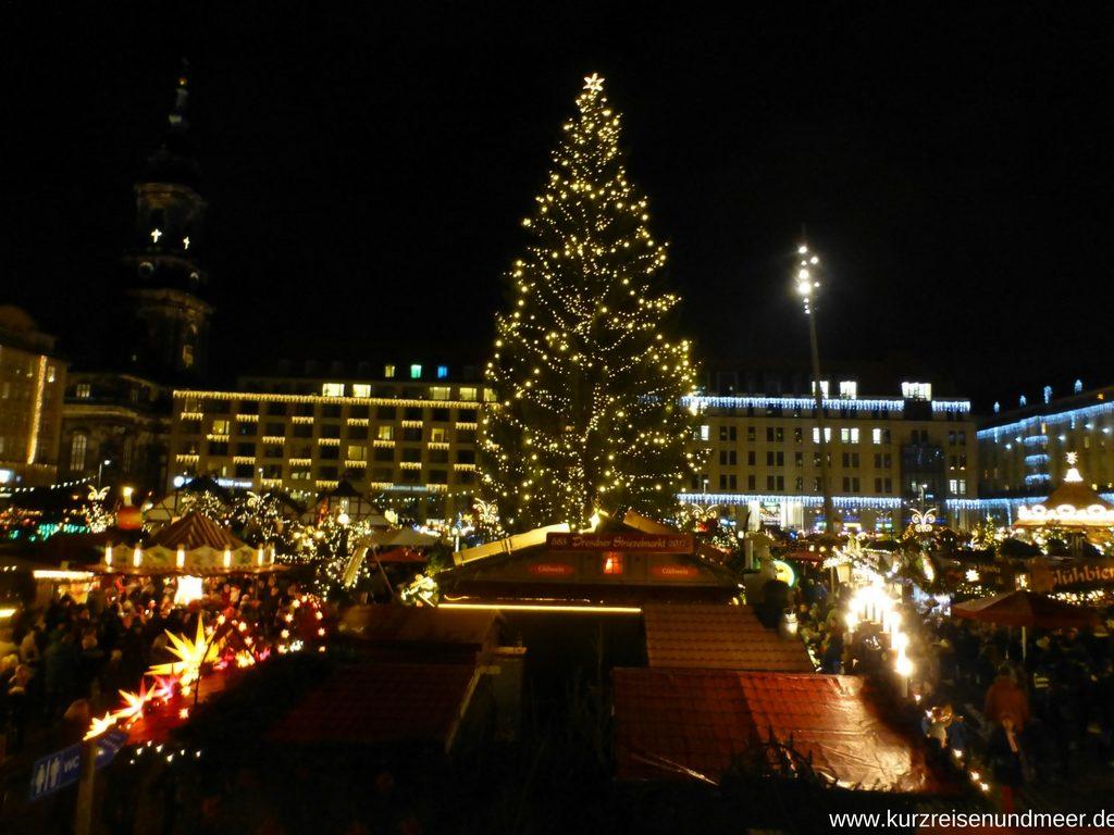Ist das nicht ein wunderschöner Tannenbaum auf dem 583. Striezelmarkt in Dresden?